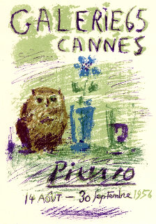 Lithographic Version of Galerie 65, Cannes 1956, Exhibition Poster 1956 Limited Edition Print - Pablo Picasso