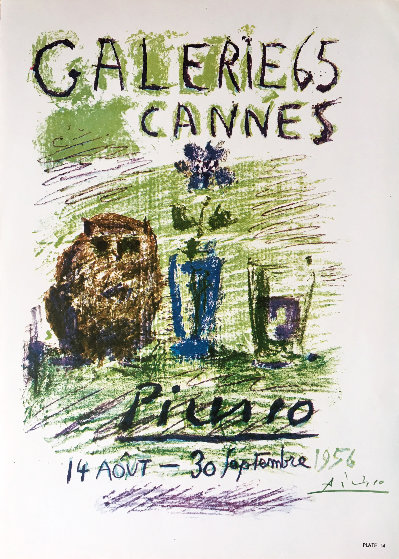 Galerie 65 Cannes Hand Signed Poster 1956 Limited Edition Print by Pablo Picasso