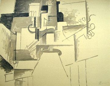 Papiers Colles 1910-1914 (Violin Et Bouteille) 1966 Limited Edition Print by Pablo Picasso