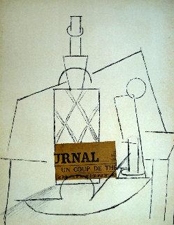 Papiers Colles 1910-1914 (Bouteille De Rhum Paille, Verre Et Le Jour 1966 Limited Edition Print by Pablo Picasso