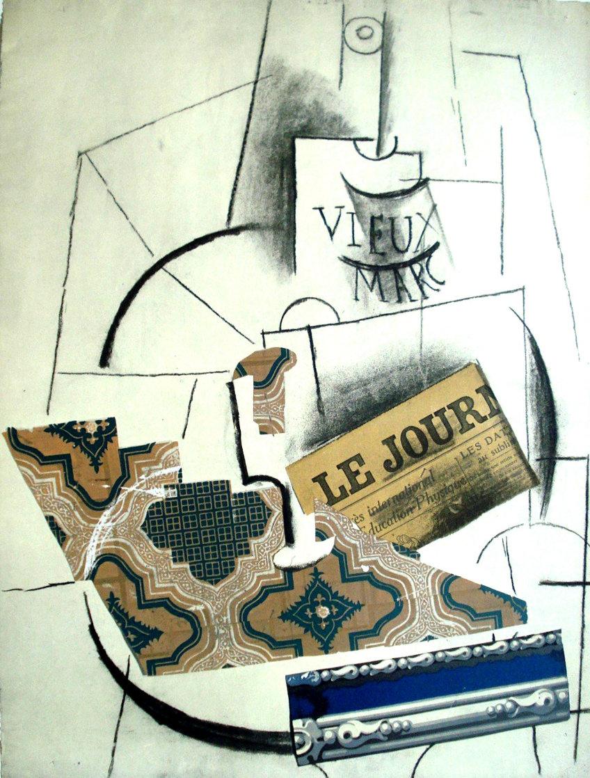 Papiers Colles 1910-1914 (Bouteille De Vieux Marc, Verre Et Le Journ 1966 Limited Edition Print by Pablo Picasso