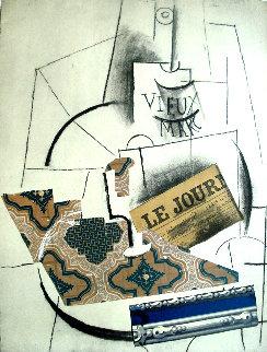 Papiers Colles 1910-1914 (Bouteille De Vieux Marc, Verre Et Le Journ 1966 Limited Edition Print - Pablo Picasso
