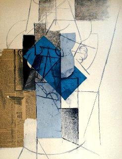 Papiers Colles 1910-1914 (Tete D\'homme Au Chapeau) 1966 Limited Edition Print - Pablo Picasso