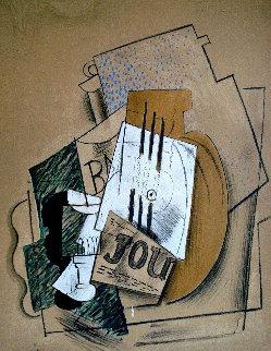 Papiers Colles 1910-1914 (Bouteille De Bass, Verre Et Le Journal) 1966 Limited Edition Print - Pablo Picasso