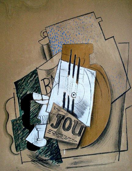 Papiers Colles 1910-1914 (Bouteille De Bass, Verre Et Le Journal) 1966 Limited Edition Print by Pablo Picasso