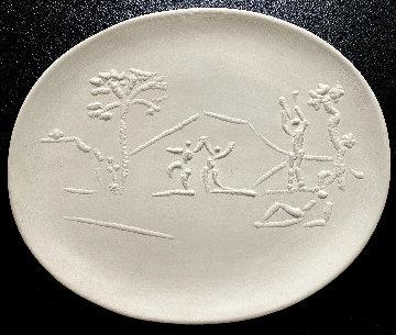 Danseurs Et Joueurs De Diaule Earthenware Oval Dish 1956 15 in Sculpture - Pablo Picasso