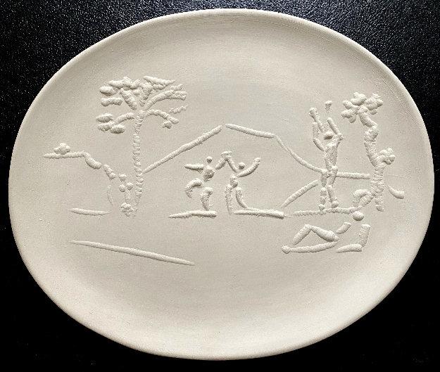Danseurs Et Joueurs De Diaule Earthenware Oval Dish 1956 15 in Sculpture by Pablo Picasso