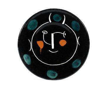 Visage Noir (Assiette E) Ceramic Plate 1948 9 in Sculpture by Pablo Picasso