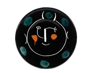 Visage Noir (Assiette E) Ceramic Plate 1948 9 in Sculpture - Pablo Picasso
