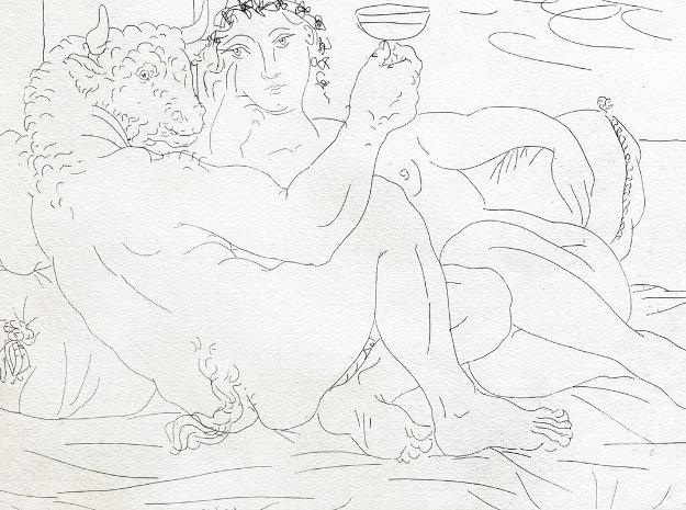 Le Repos Du Minotaure: Champagne Et Amante 1933 Limited Edition Print by Pablo Picasso