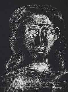 Jacqueline Aux Chevaux Flous, En Buste Linocut 1962 HS Limited Edition Print - Pablo Picasso