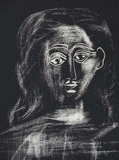Jacqueline Aux Chevaux Flous, En Buste Linocut 1962 Limited Edition Print by Pablo Picasso