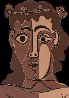 Jeune Homme Couronné De Feuillage Linocut 1962 Limited Edition Print - Pablo Picasso
