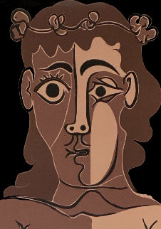 Jeune Homme Couronné De Feuillage Linocut 1962 HS Limited Edition Print - Pablo Picasso