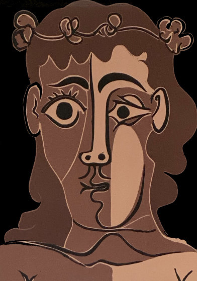 Jeune Homme Couronné De Feuillage Linocut 1962 Limited Edition Print by Pablo Picasso