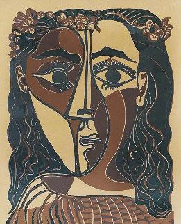Petite Tête De Femme Couronnée Linocut 1962 Limited Edition Print - Pablo Picasso