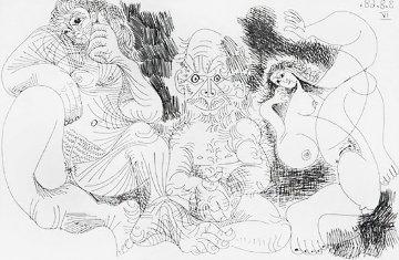 Vieillard Assis Avec Une Femme Et Danseuse 1969   Limited Edition Print - Pablo Picasso