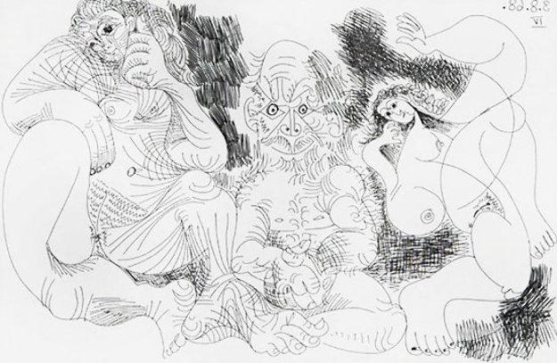 Vieillard Assis Avec Une Femme Et Danseuse 1969   Limited Edition Print by Pablo Picasso