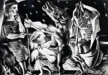 Minotaure Aveugle Guide Par Marie Therese Au Pigeon Dans Une Nuit Étoilée 1934 Limited Edition Print - Pablo Picasso