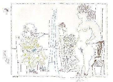 Le Modele Et Deux Personnages 1954 Limited Edition Print - Pablo Picasso