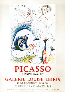 Picasso Dessins 1966-1967 Galerie Louise Leiris, Lithographic Poster 1968 Limited Edition Print - Pablo Picasso