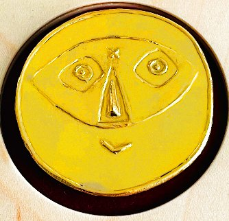 Tete Au Masque Gold Medallion 1956 23 c. Gold Jewelry - Pablo Picasso