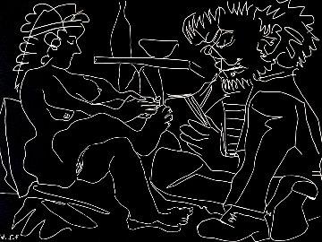 Peintre Dessinant Et Modele Nu Au Chapeau Linocut 1965 HS Limited Edition Print - Pablo Picasso