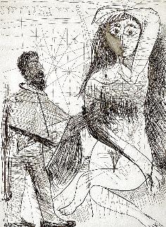 Peintre En Costume Espagnol Peignant Sur Son Modèle 1968 Limited Edition Print - Pablo Picasso