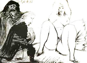 La Celestine, Sa Protegee, Et Un Jeune Gentilhomme AP 1968 HS  Limited Edition Print - Pablo Picasso
