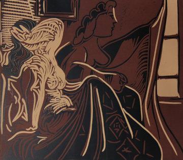 Deux Femmes Pres De La Fenetre Linocut 1959 Limited Edition Print - Pablo Picasso