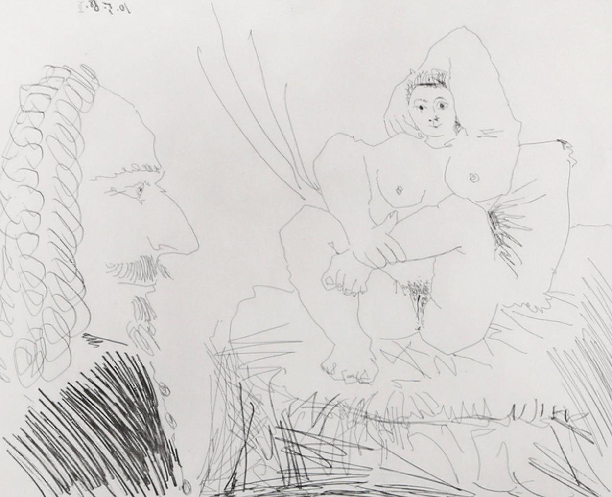 Courtisane Au Lit Avec Un Visiteur,  From the 347 Series (Bloch 1553) 1968 HS Limited Edition Print by Pablo Picasso