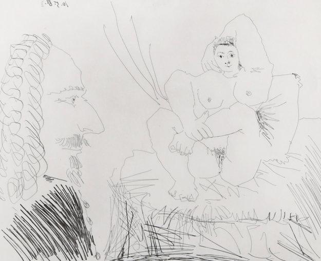 Courtisane Au Lit Avec Un Visiteur,  From the 347 Series (Bloch 1553) 1968 Limited Edition Print by Pablo Picasso