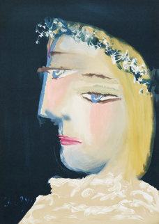 Femme a La Robe, Blanche Couronee De Fleurs Limited Edition Print - Pablo Picasso