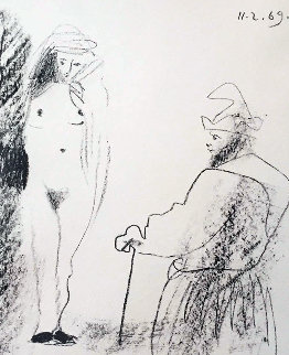 Femme Nue Et Homme a La Canne 1969 Limited Edition Print - Pablo Picasso