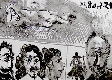 El Greco Portraits With Reclining Model And Snowman/ Autour D'el Greco Portraits 1968 Limited Edition Print - Pablo Picasso