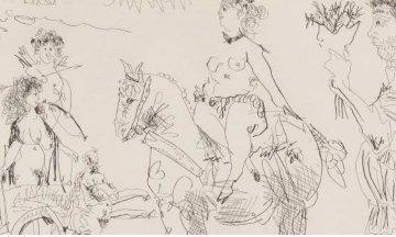 Scene De Theatre: Amazone Venus De Foire, Homme Au Bouquet 1968 Limited Edition Print - Pablo Picasso