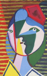Visage De Femme Sur Fond Raye Limited Edition Print -  Picasso Estate Signed Editions