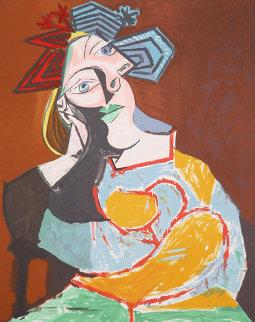 Femme Ecoudee Au Drapeau Bleu Et Rouge Limited Edition Print by  Picasso Estate Signed Editions