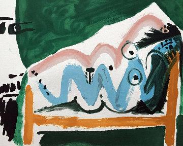 Ne Allongee Et Tete D'homme De Profil 1980 Limited Edition Print -  Picasso Estate Signed Editions
