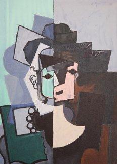 Portrait De Face Sur Fond Rose Et Vert Limited Edition Print by  Picasso Estate Signed Editions