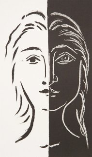 Portrait En Deux Parties Noire Et Blanche Limited Edition Print by  Picasso Estate Signed Editions