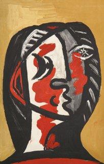 Tete De Femme En Gris Et Rouge Sur Fond Ochre Limited Edition Print by  Picasso Estate Signed Editions
