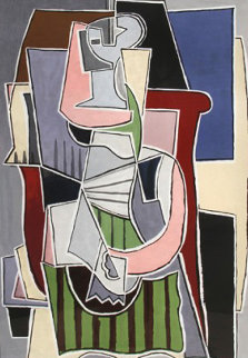 Femme Au Tablier Raye Vert Limited Edition Print -  Picasso Estate Signed Editions