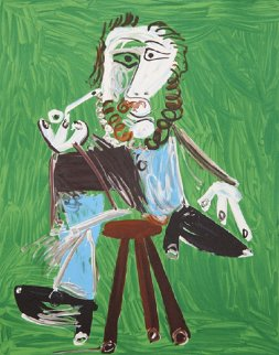 Homme a La Pipe Assise Sur Un Tabouret Limited Edition Print by  Picasso Estate Signed Editions