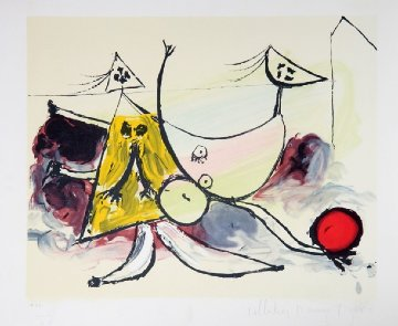 Femme Sur La Plage Jouant Au Balloon  Limited Edition Print -  Picasso Estate Signed Editions