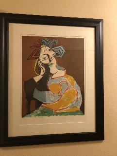 Femme Accoudee, Au Drapeau Bleu Et Rougue   Limited Edition Print by  Picasso Estate Signed Editions
