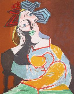 Femme Accoudee, Au Drapeau Bleu Et Rougue   Limited Edition Print -  Picasso Estate Signed Editions