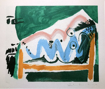 Ne Allongee Et Tete D'homme De Profil Limited Edition Print -  Picasso Estate Signed Editions