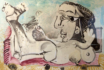 Femme Couchee a l'oiseau 1968 Limited Edition Print -  Picasso Estate Signed Editions