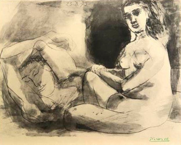 Homme Couche Et Femme Assise 1942 by  Picasso Estate Signed Editions
